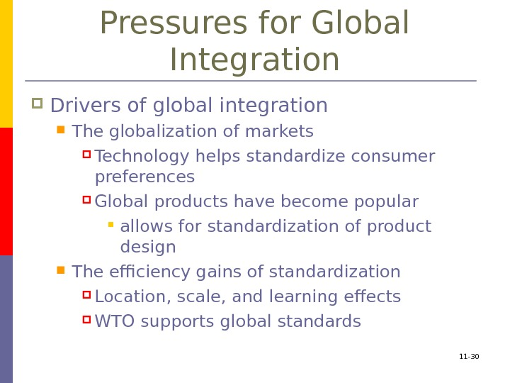 11 - 30 Pressures for Global Integration Drivers of global integration The globalization of