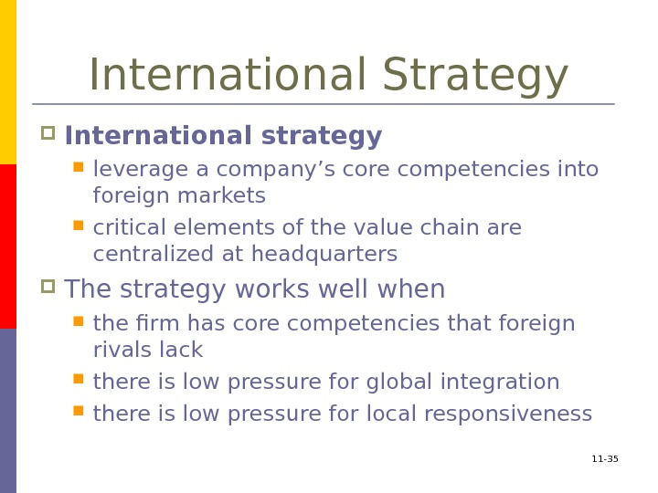 11 - 35 International Strategy International strategy  leverage a company's core competencies into