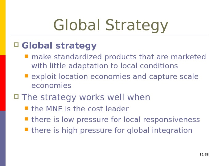 11 - 38 Global Strategy Global strategy  make standardized products that are marketed