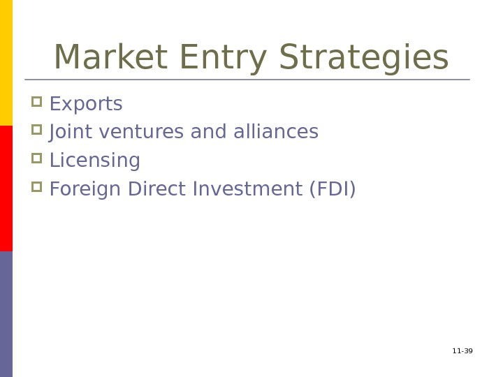 Market Entry Strategies Exports Joint ventures and alliances Licensing Foreign Direct Investment (FDI) 11