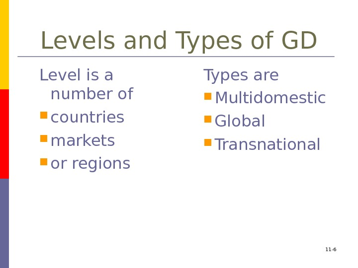 Levels and Types of GD Level is a number of  countries  markets