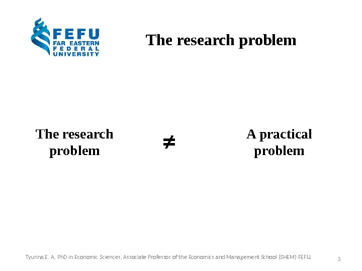 The research problem A practical problem≠ 3 Tyurina E. A, Ph. D in Economic