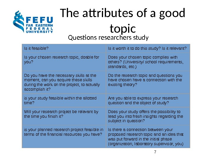 The attributes of a good topic Questions researchers study 7 Is it feasible?