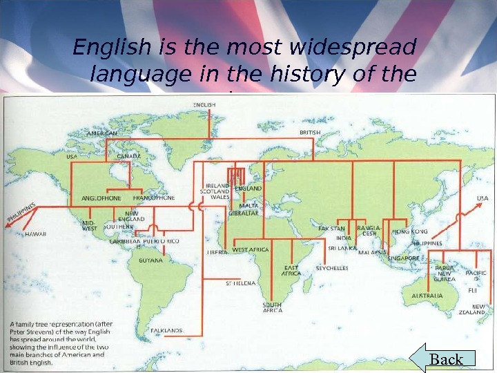 English is the most widespread language in the history of the planet.  Back