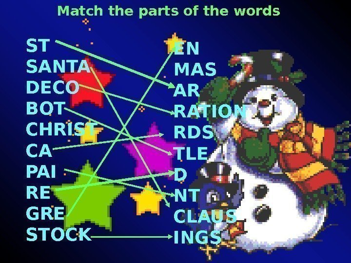 Match the parts of the words ST SANTA DECO BOT CHRIST CA PAI RE