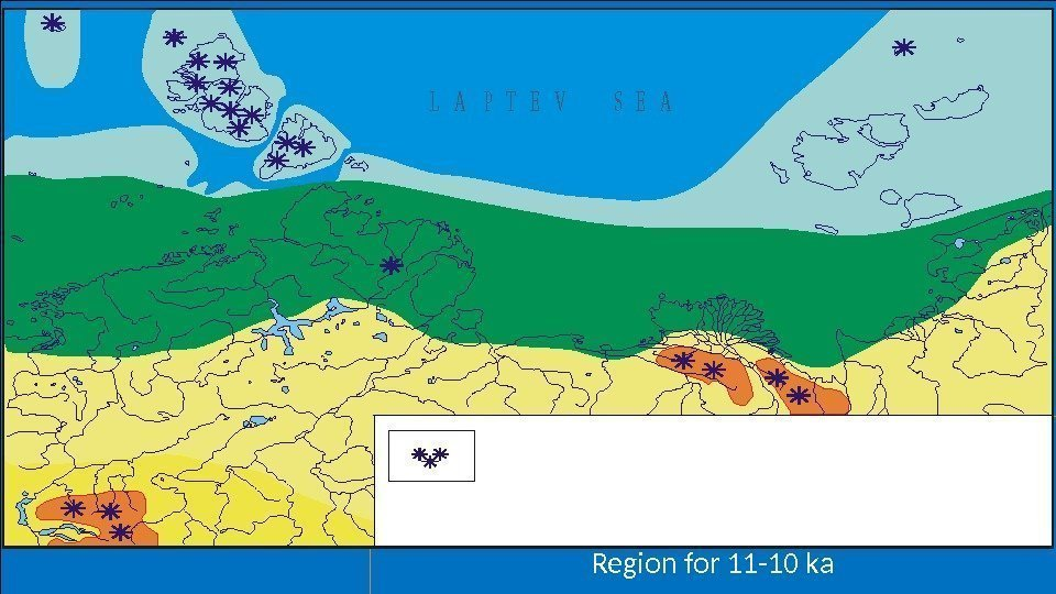 Map of vegetation of the Laptev Sea Region for 11 -10 ka. Areas covered