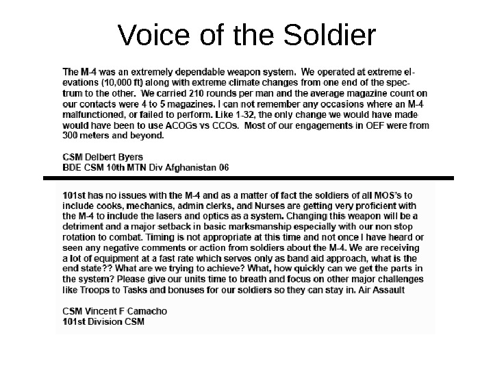 12 December 2007; 1255 hrs Version 3. 5 Voice of the Soldier