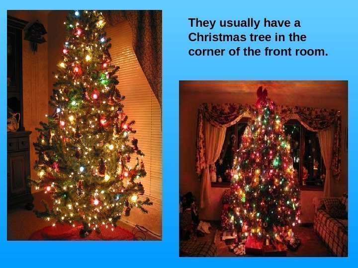They usually have a Christmas tree in the corner of the front