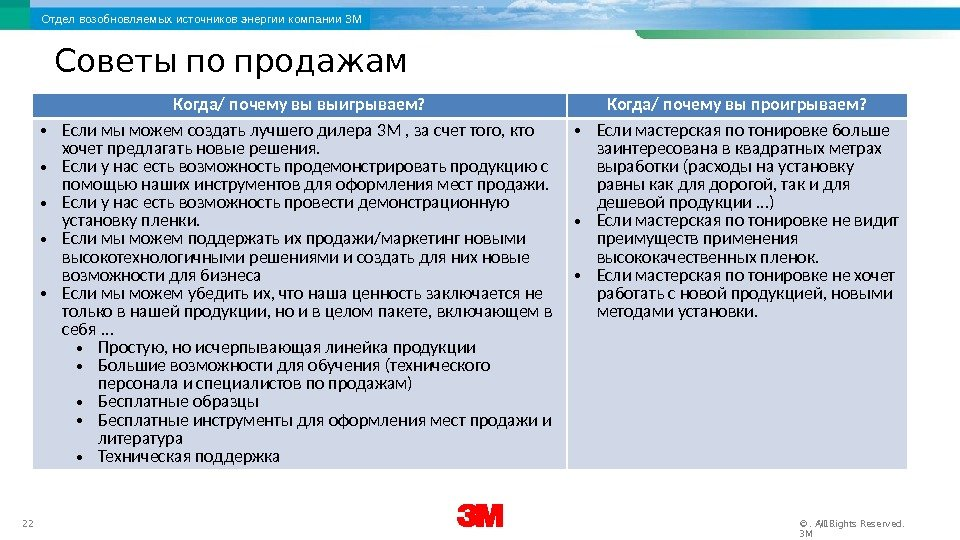 3 M Renewable Energy Division 22 12/17/16. All Rights Reserved. © 3 MОтдел возобновляемых