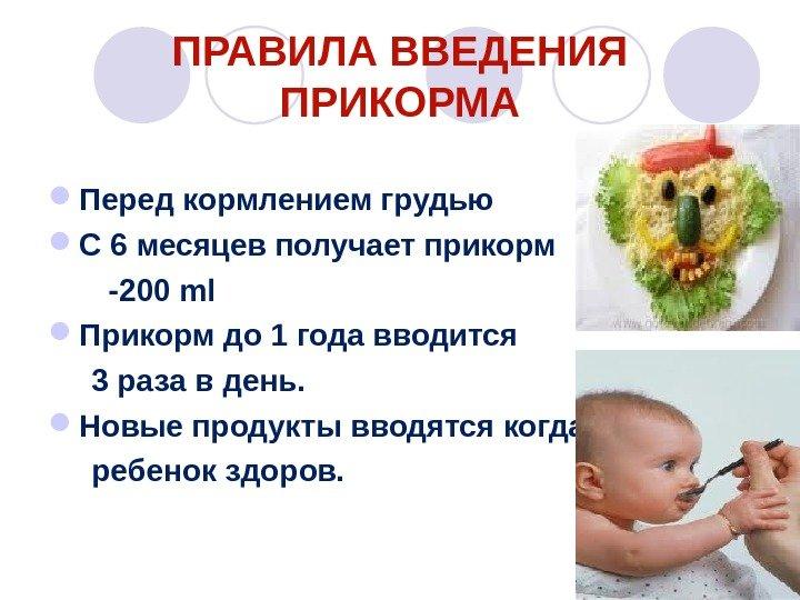 план питания ребенка 6 месяцев