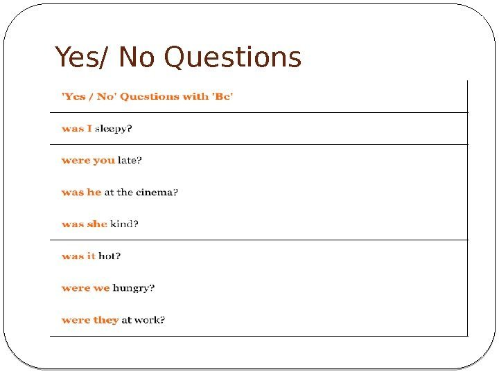 Yes/ No Questions