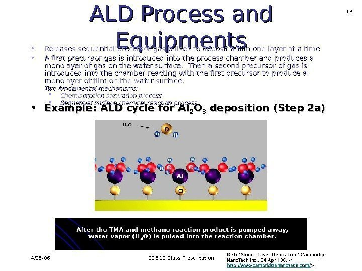 4/25/06 EE 518 Class Presentation 13 ALD Process and Equipments • Example: ALD cycle