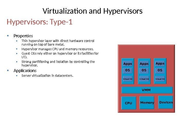 Properties Thin hypervisor layer with direct hardware control running on top of bare