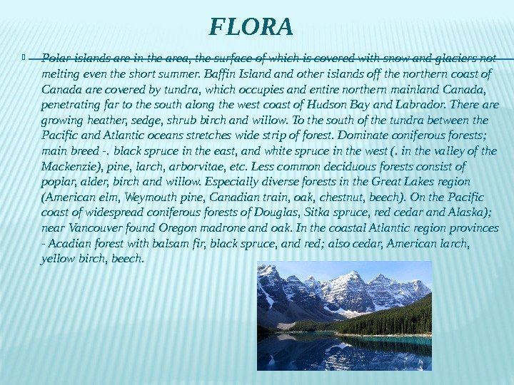 FLORA Polar islands are in the area, the surface