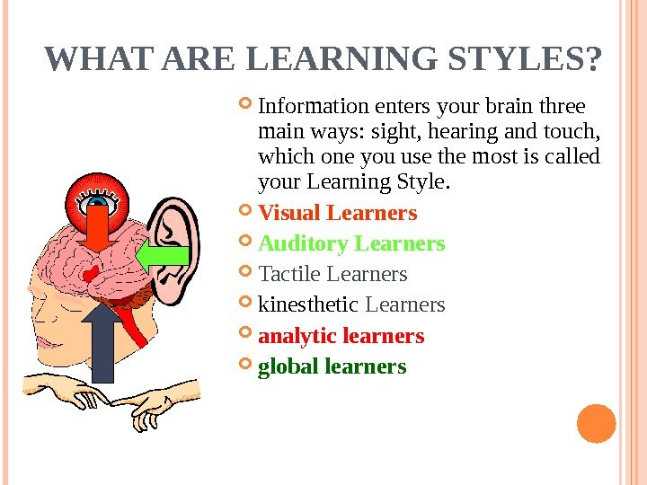 WHAT ARE LEARNING STYLES?  Information enters your brain three main ways: sight, hearing