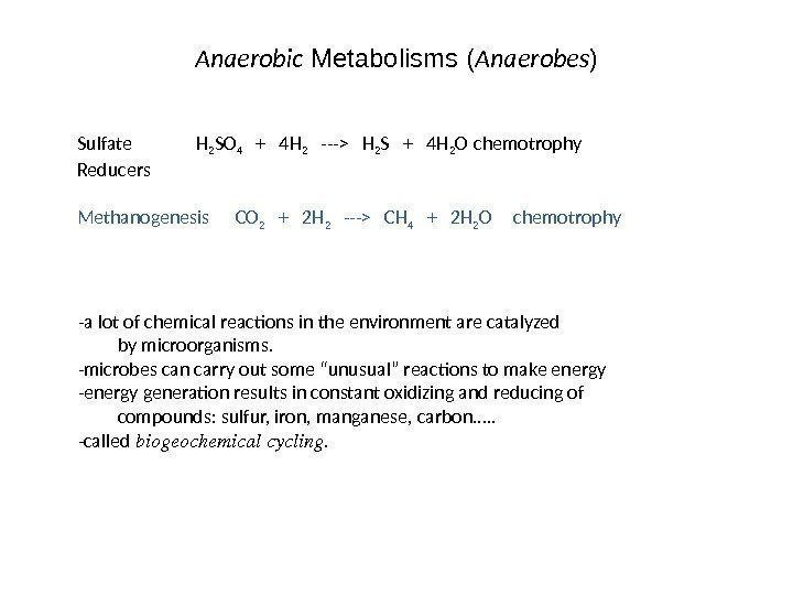 Anaerobic Metabolisms ( Anaerobes ) Sulfate H 2 SO 4  +  4