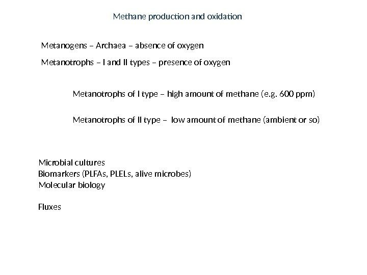 Metanogens – Archaea – absence of oxygen Metanotrophs – I and II types –