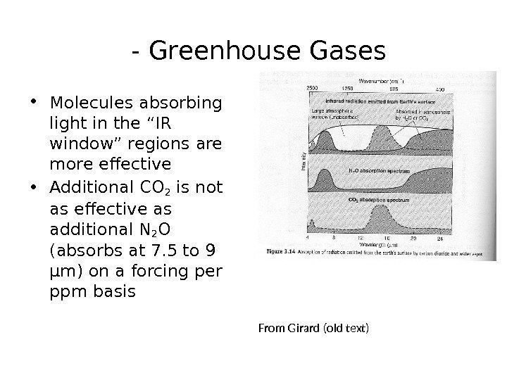 "- Greenhouse Gases • Molecules absorbing light in the ""IR window"" regions are"