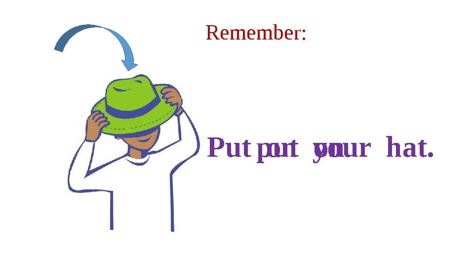 Remember: put on. Put on your hat.