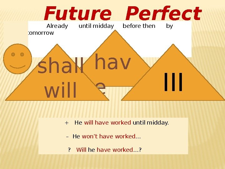 Future Perfect   Already until midday before then by tomorrow