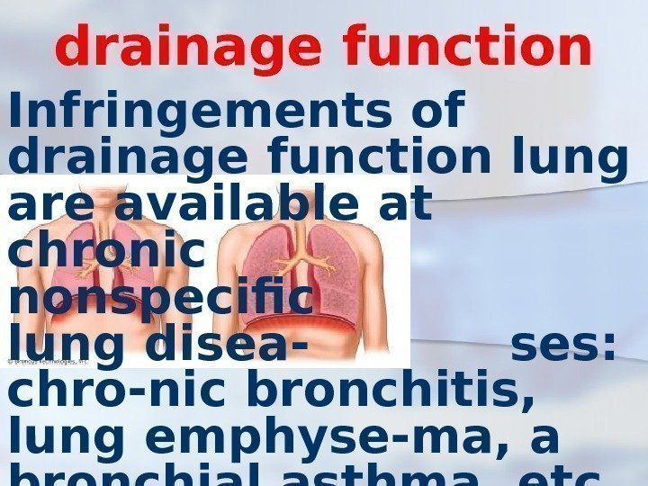 drainage function Infringements of drainage function lung are available at  chronic nonspecific lung