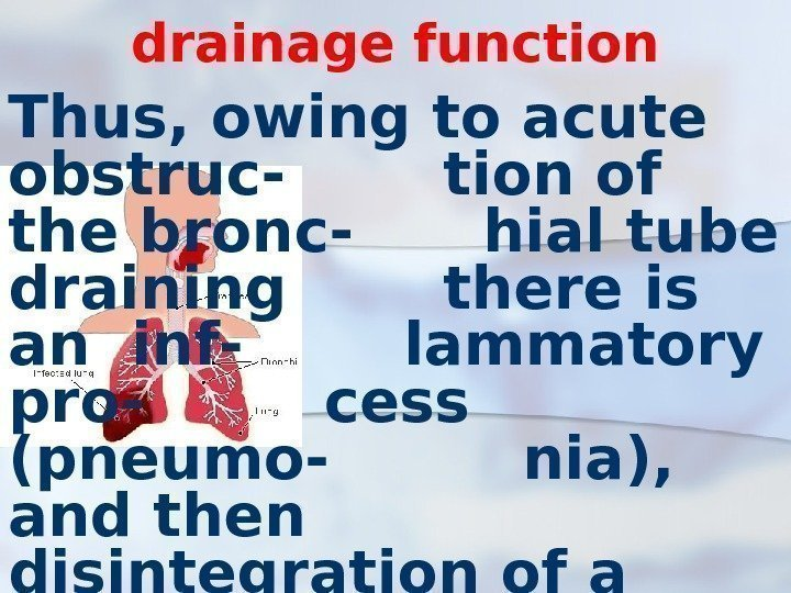 drainage function Thus, owing to acute obstruc- tion of the bronc- hial tube draining