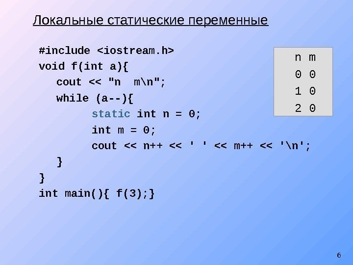 6#include iostream. h void f(int a){ cout  n m\n; while (a--){ static int