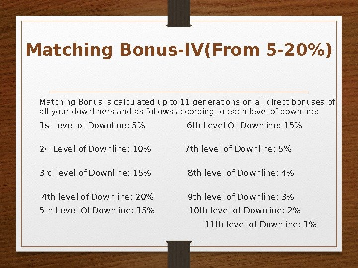 Matching Bonus is calculated up to 11 generations on all direct bonuses of all