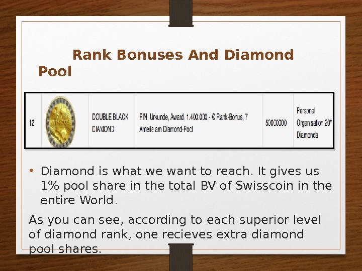 • Diamond is what we want to reach. It gives us 1 pool