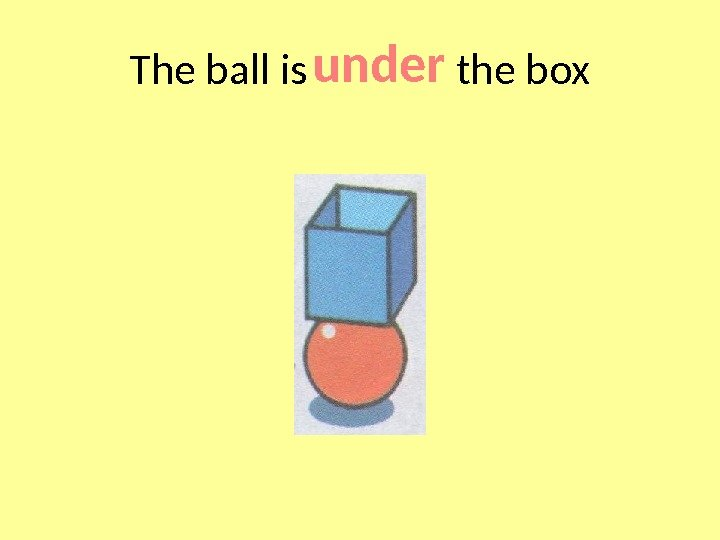 The ball is    the box under