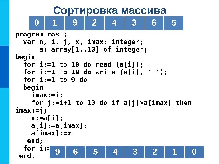 Сортировка массива program rost; var n, i, j, x, imax: integer;   a:
