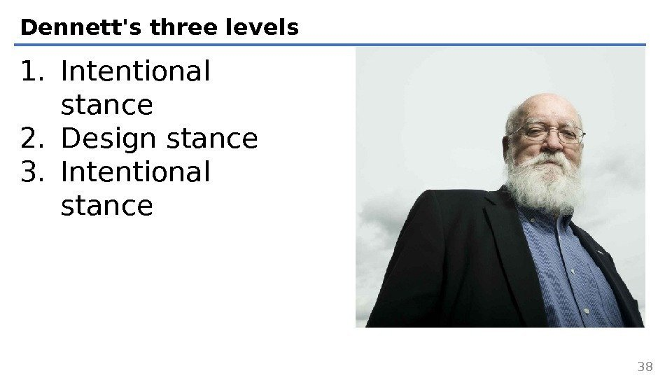 Dennett's three levels 381. Intentional stance 2. Design stance 3. Intentional stance