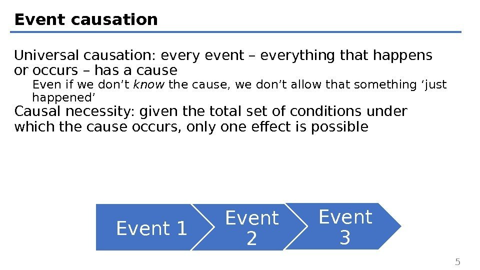 Event causation Universal causation: every event – everything that happens or occurs – has