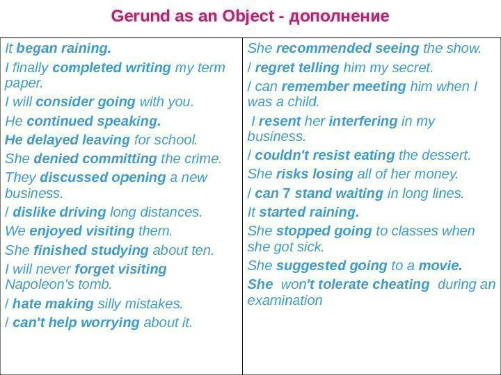 Gerund as an Object - дополнение It began raining. I finally completed
