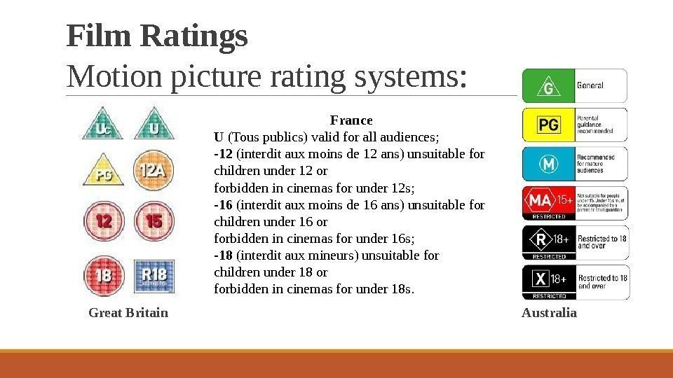 Film Ratings Motion picture rating systems:  Great Britain    Australia France