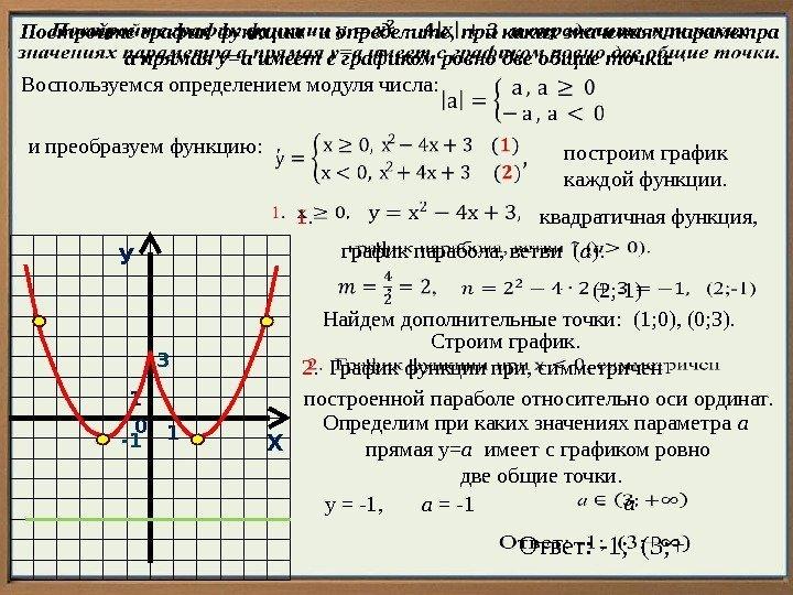 Функция у модуль х ее свойства и график