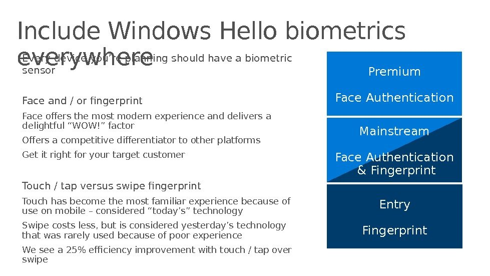 Include Windows Hello biometrics everywhere Every device you're planning should have a biometric sensor