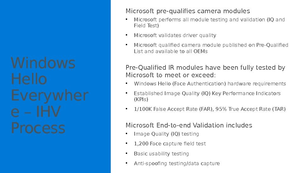 Windows Hello Everywher e – IHV Process Microsoft pre-qualifies camera modules  Microsoft performs