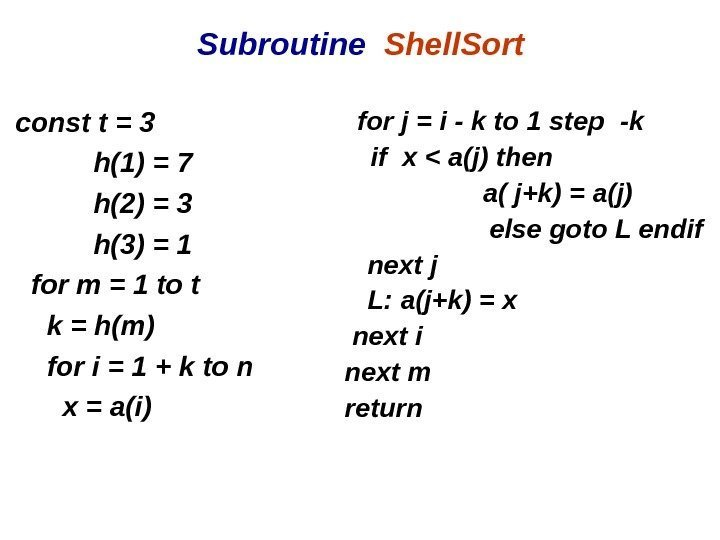 Subroutine  Shell. Sort const t = 3  h(1) = 7  h(2)