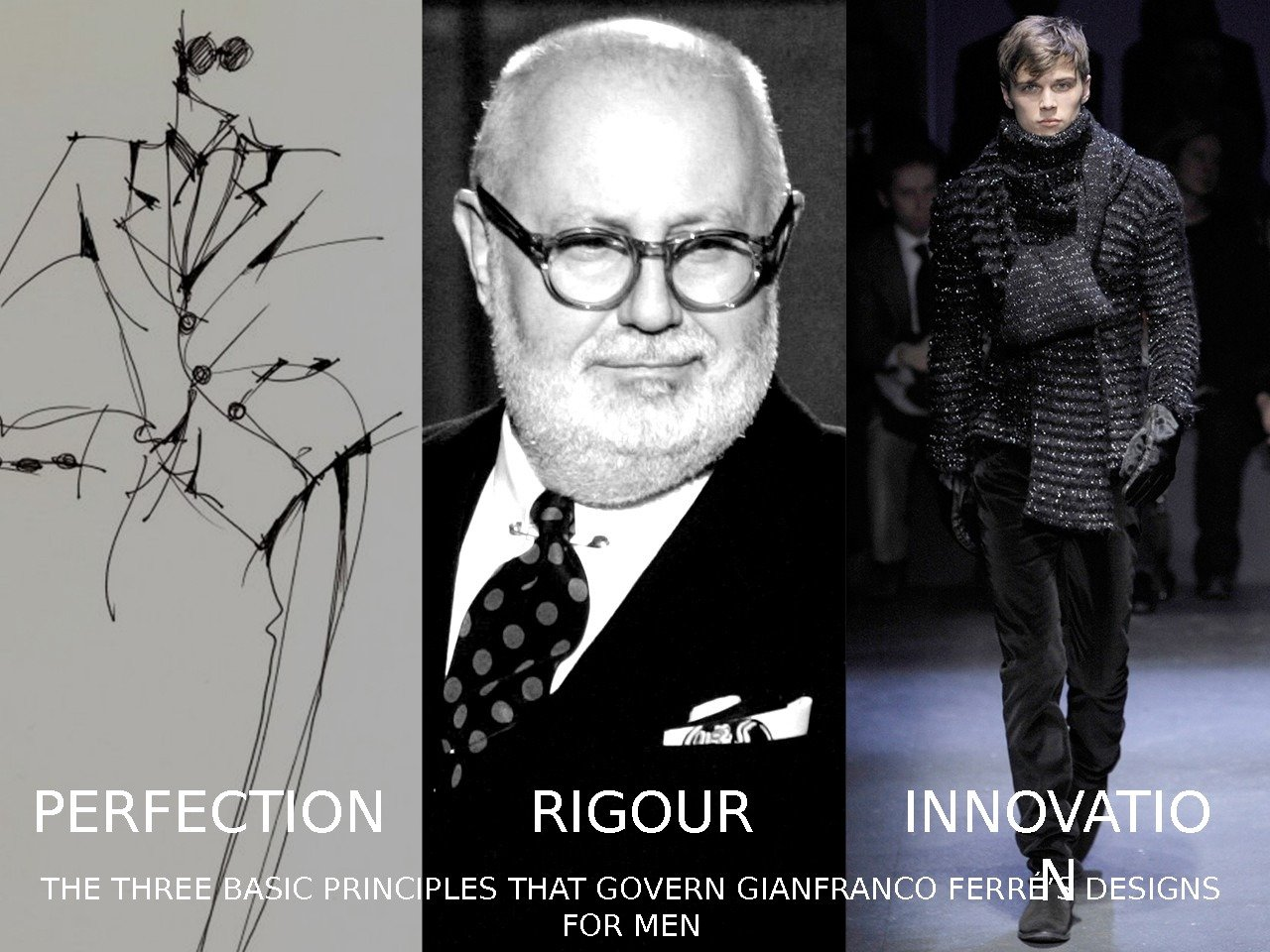 THE THREE BASIC PRINCIPLES THAT GOVERN GIANFRANCO FERRÉ'S DESIGNS FOR MENPERFECTION RIGOUR INNOVATIO N