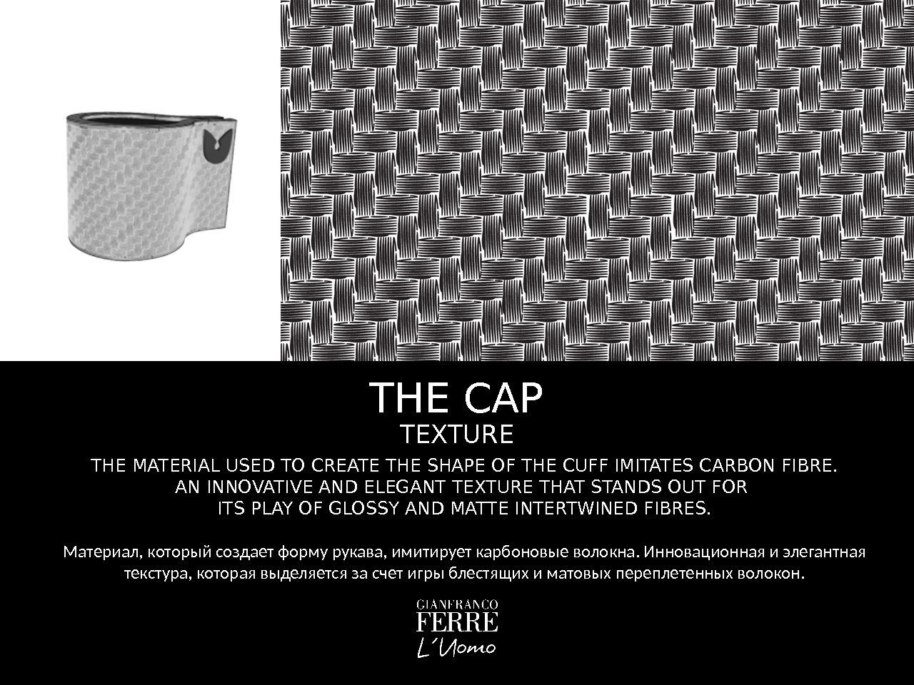 THE CAP THE MATERIAL USED TO CREATE THE SHAPE OF THE CUFF IMITATES CARBON