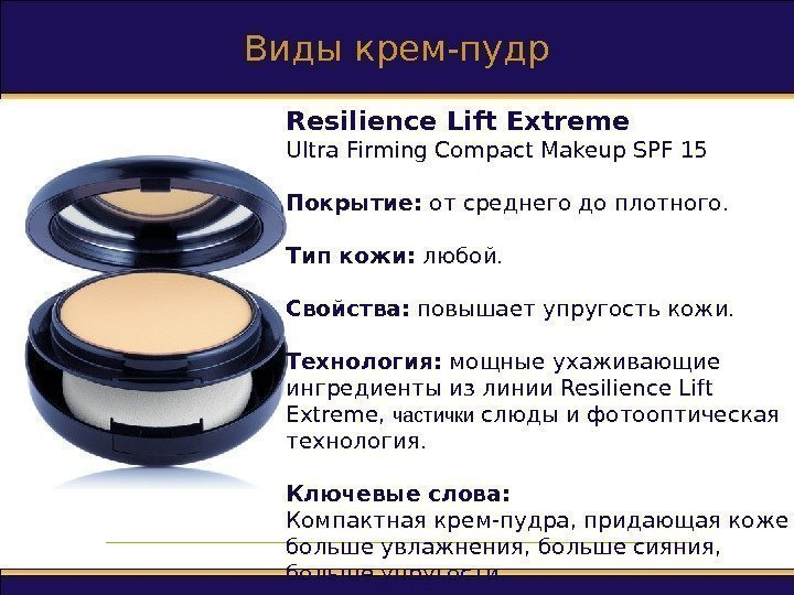 Виды крем-пудр Resilience Lift Extreme Ultra Firming Compact Makeup SPF 15 Покрытие :