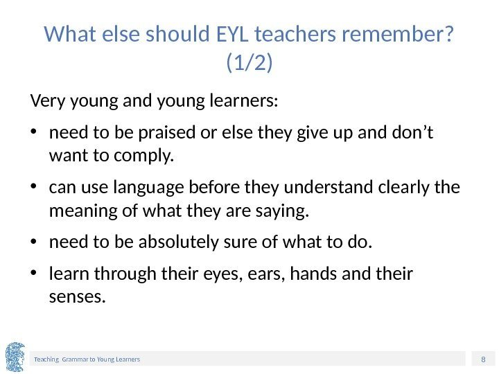 8 Teaching Grammar to Young Learners What else should EYL teachers remember?  (1/2)