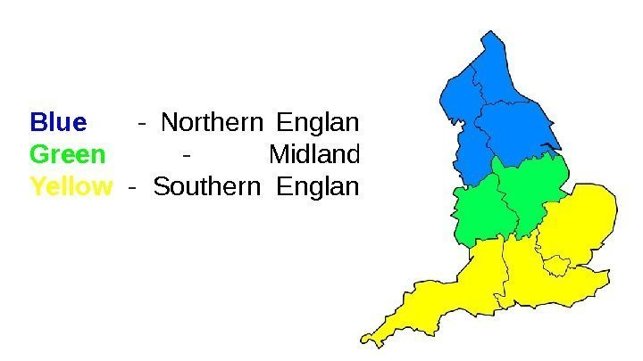 Blue   - Northern England Green  - Midlands Yellow  - Southern