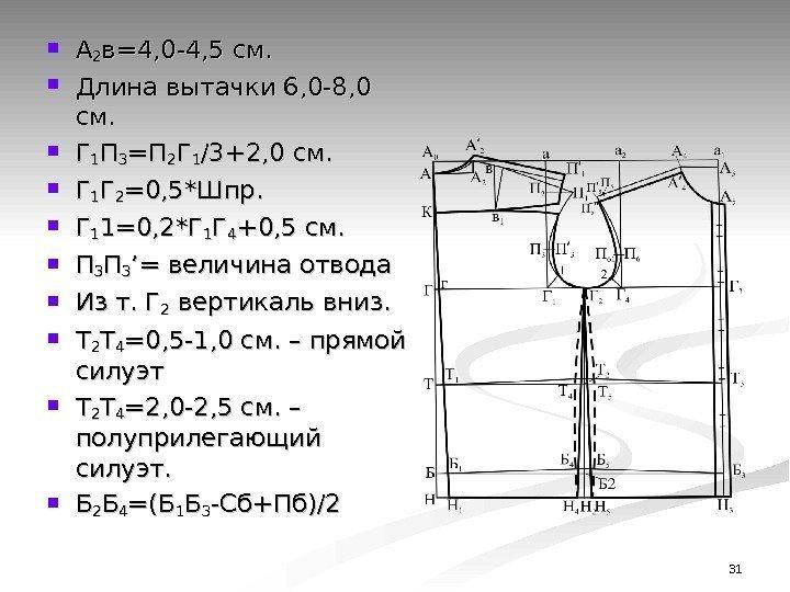 31 АА 22 в=4, 0 -4, 5 см. Длина вытачки 6, 0 -8,