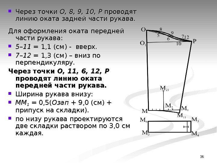 36 Через точки О, 8, 9, 10, Р проводят линию оката задней части рукава.