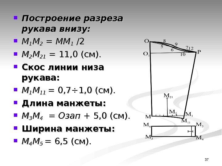 37 Построение разреза рукава внизу: ММ 11 ММ 22 = ММ 11 /2 /2