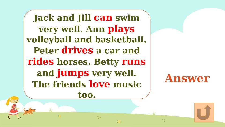 Answer. Jack and Jill can swim very well. Ann plays volleyball and basketball. Peter