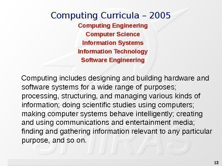 13 Computing Engineering Computer Science Information Systems Information Technology Software Engineering Computing includes designing