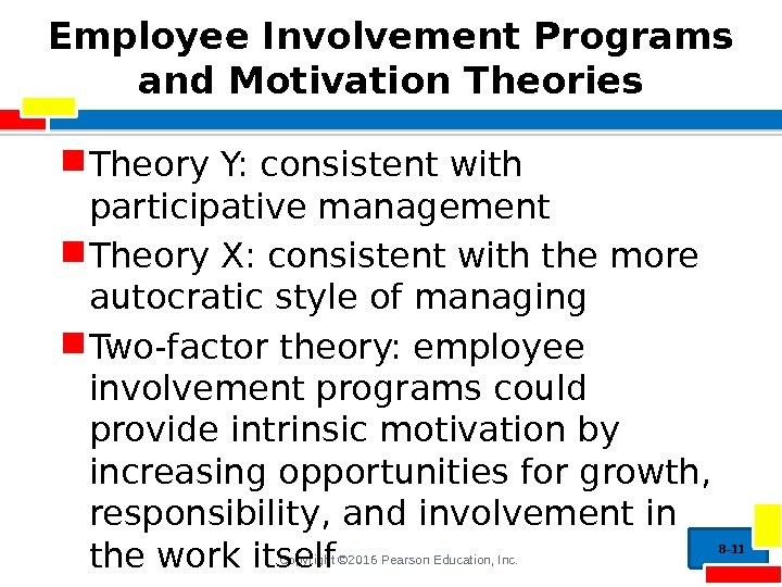 Copyright © 2016 Pearson Education, Inc. Employee Involvement Programs and Motivation Theories Theory Y: